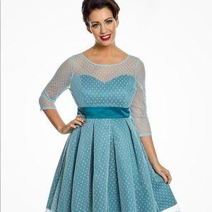 '1950's style Serephina' Aqua Polka Dot Prom Dress